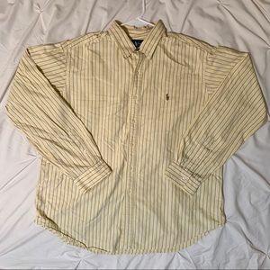 Yellow Striped Ralph Lauren Button Down XXL